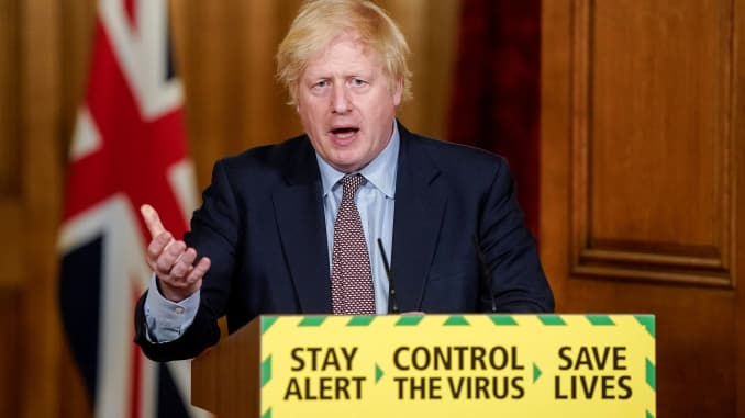 Britain's Prime Minister Boris Johnson speaks during a daily briefing to update on the coronavirus disease (Covid-19) outbreak, at 10 Downing Street in London.