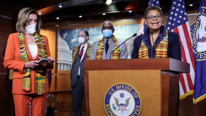 U.S. House Speaker Nancy Pelosi (D-CA) looks on as Congressional Black Caucus Chairwoman Representative Karen Bass (D-CA) addresses reporters during a news conference to unveil police reform and racial injustice legislation at the U.S. Capitol in Washingt