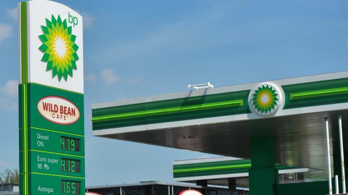 BP logo seen in Krakow. On Monday, May 11, 2020, in Krakow, Poland.