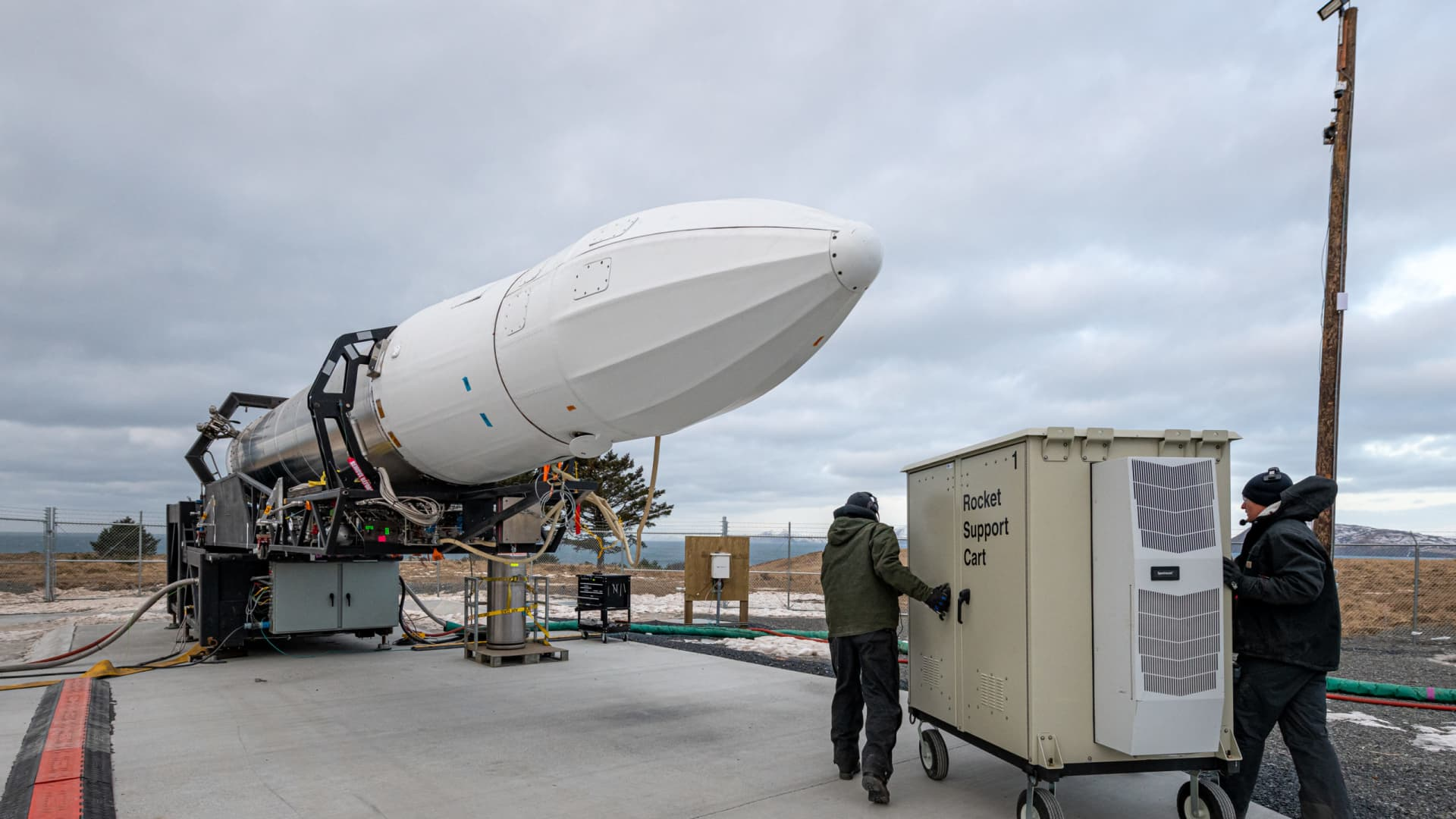 Astra's rocket 3.0 during launch preparations in Kodiak, Alaska.