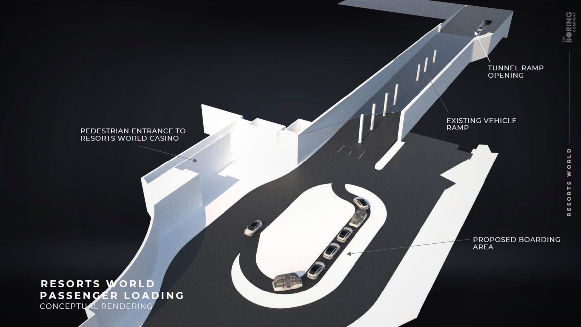 Resorts World Las Vegas and The Boring Company produced a mock-up presentation of a passenger platform for their proposed underground tunnel project in Las Vegas.