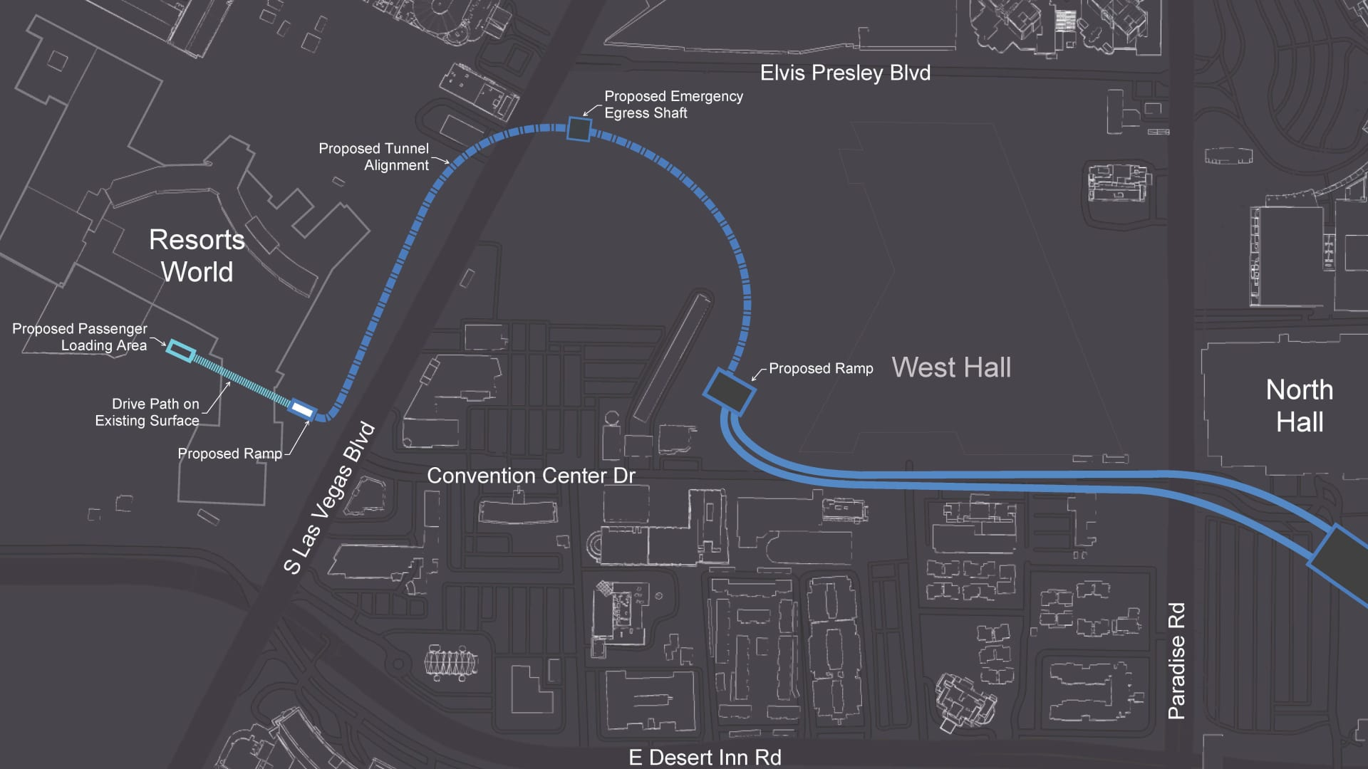 A map showing the proposed route for an underground tunnel from The Boring Company and Resorts World Las Vegas.