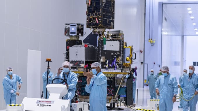 "The stack of small satellites for Arianespace's Vega ""SSMS"" mission is transported in the payload preparation facility."