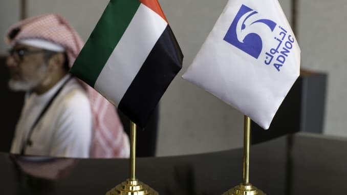 UAE flag and ADNOC flag