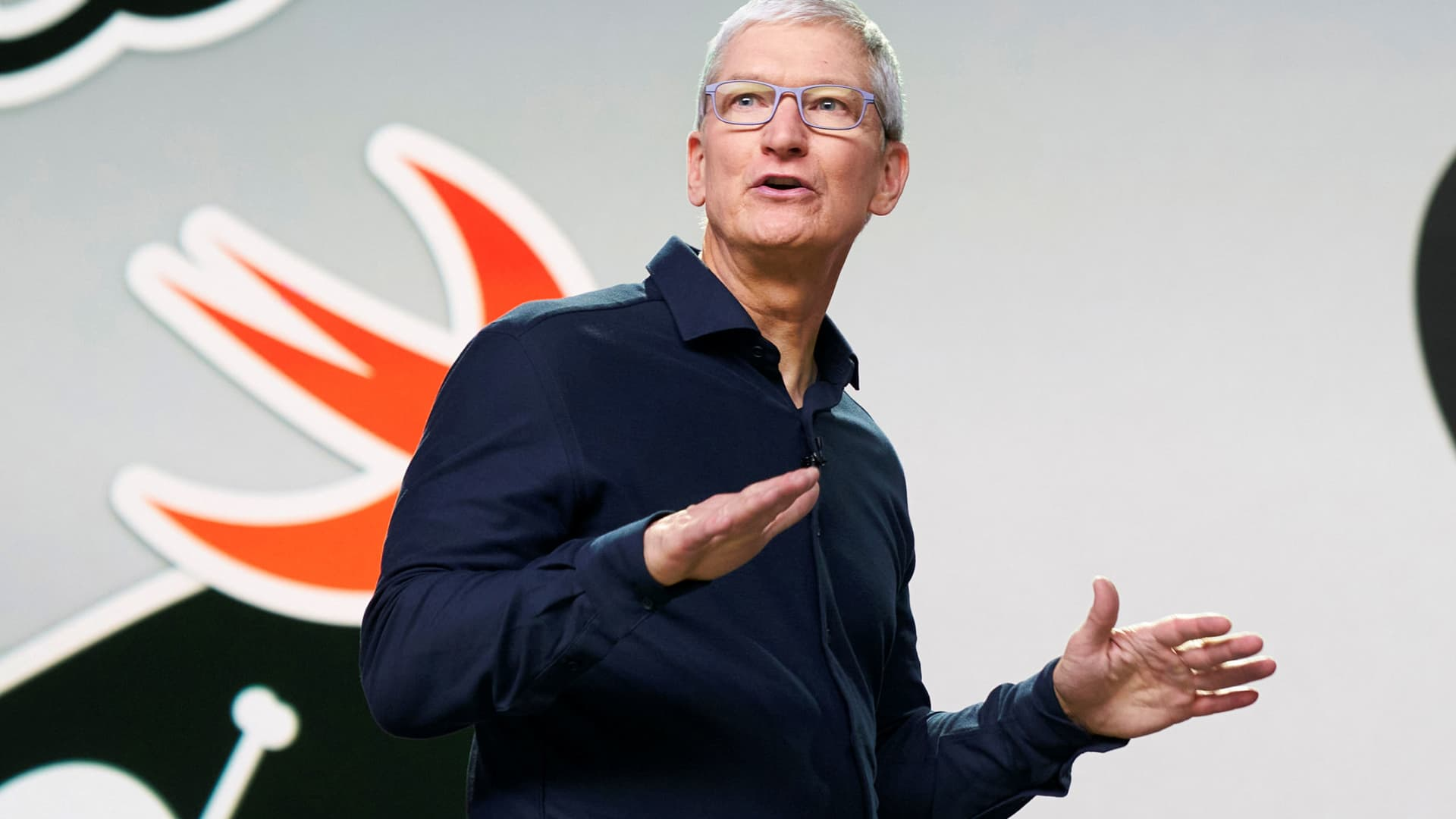 Apple CEO Tim Cook delivers the keynote address during the 2020 Apple Worldwide Developers Conference (WWDC) at Steve Jobs Theater in Cupertino, California, June 22, 2020.