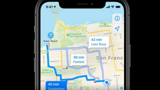 Apple Maps in iOS 14 will include cycling directions.