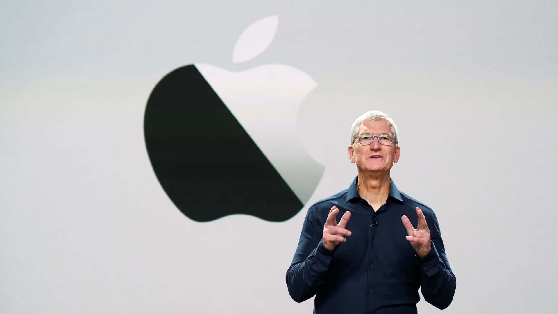 Apple CEO Tim Cook delivers the keynote address during the 2020 Apple Worldwide Developers Conference (WWDC) at Steve Jobs Theater in Cupertino, California.