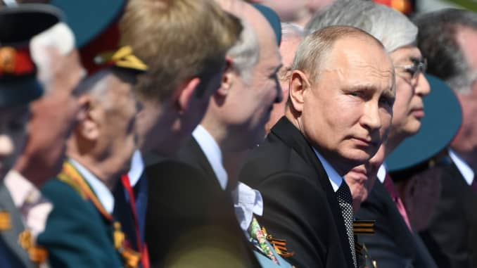 President of Russia Vladimir Putin looks on prior to the Victory Day military parade in Red Square marking the 75th anniversary of the victory in World War II, on June 24, 2020 in Moscow, Russia.