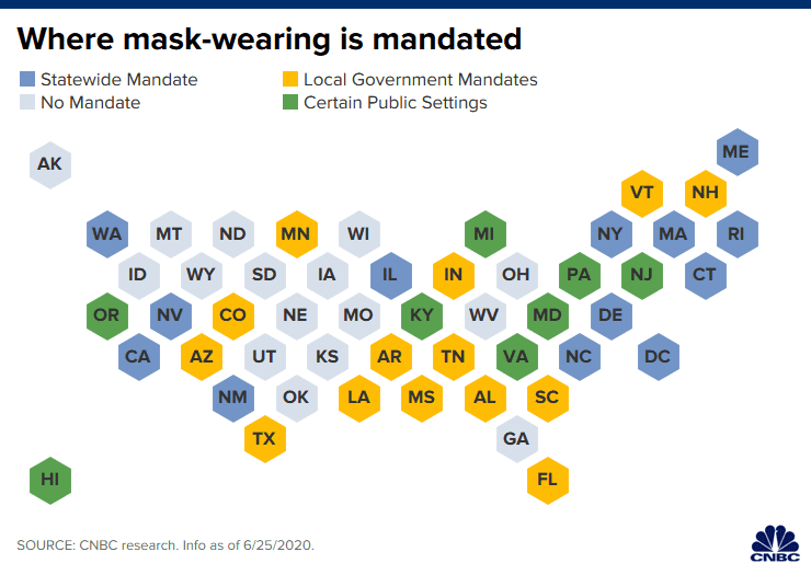 Coronavirus mask mandates differ across the country as hot spots multiply
