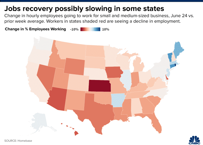 Map of the change in hourly employees going to work for small and medium-sized business, June 24 vs. prior week average.
