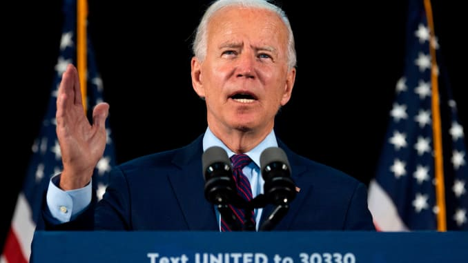 Democratic presidential candidate Joe Biden delivers remarks after meeting with Pennsylvania families who have benefited from the Affordable Care Act on June 25, 2020 in Lancaster, Pennsylvania.
