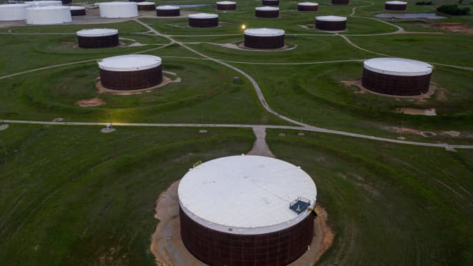 An aerial view of a crude oil storage facility is seen on May 5, 2020 in Cushing, Oklahoma.