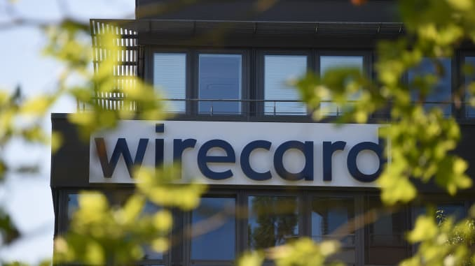 The Wirecard logo is seen at the payment company's headquarters in Aschheim near Munich, southern Germany, on June 24, 2020.