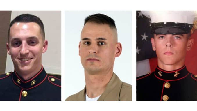 These images provided by the U.S. Marine Corps show, from left, Sgt. Benjamin S. Hines, 31, of York, Pa., Staff Sgt. Christopher K.A. Slutman, 43, of Newark, Del., and Cpl. Robert A. Hendriks, 25, of Locust Valley, N.Y. All three were killed on Monday, Ap