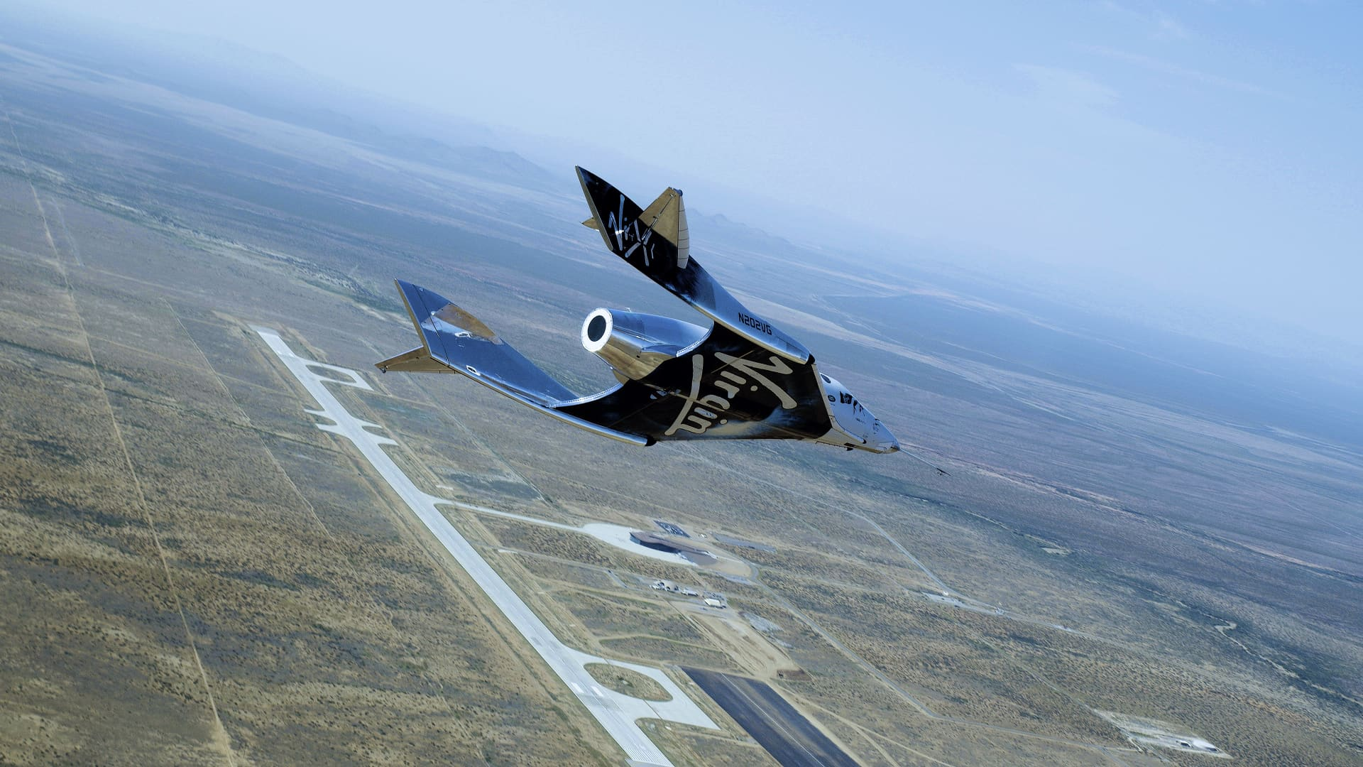 Virgin Galactic's spacecraft Unity glides in for a landing after a flight test in New Mexico on June 25, 2020.