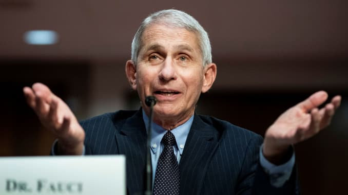 Anthony Fauci, director of the National Institute of Allergy and Infectious Diseases, speaks during a Senate Health, Education, Labor and Pensions Committee hearing on efforts to get back to work and school during the coronavirus disease (COVID-19) outbre