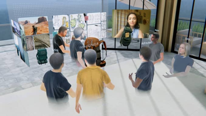 Employee avatars take part in a virtual meeting using VR company Spatial's platform.