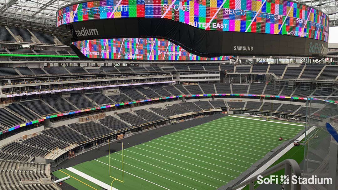 SoFi stadium in LA completes the biggest video scoreboard ever made for professional sports activities - CNBC thumbnail