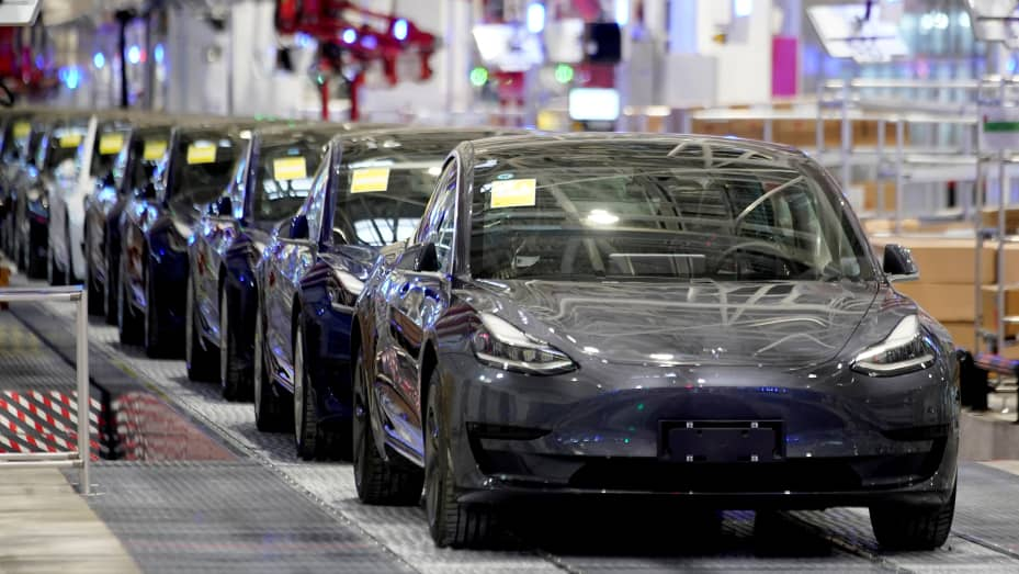Tesla Chinamade Model 3 vehicles are seen during a delivery event at its factory in Shanghai, China January 7, 2020