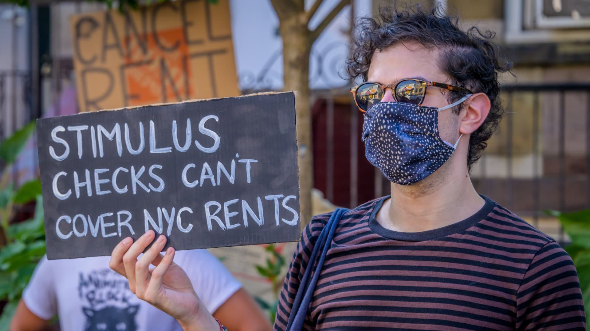 Tenants and housing activists in Brooklyn, New York, protested in a Bushwick park on July 5.