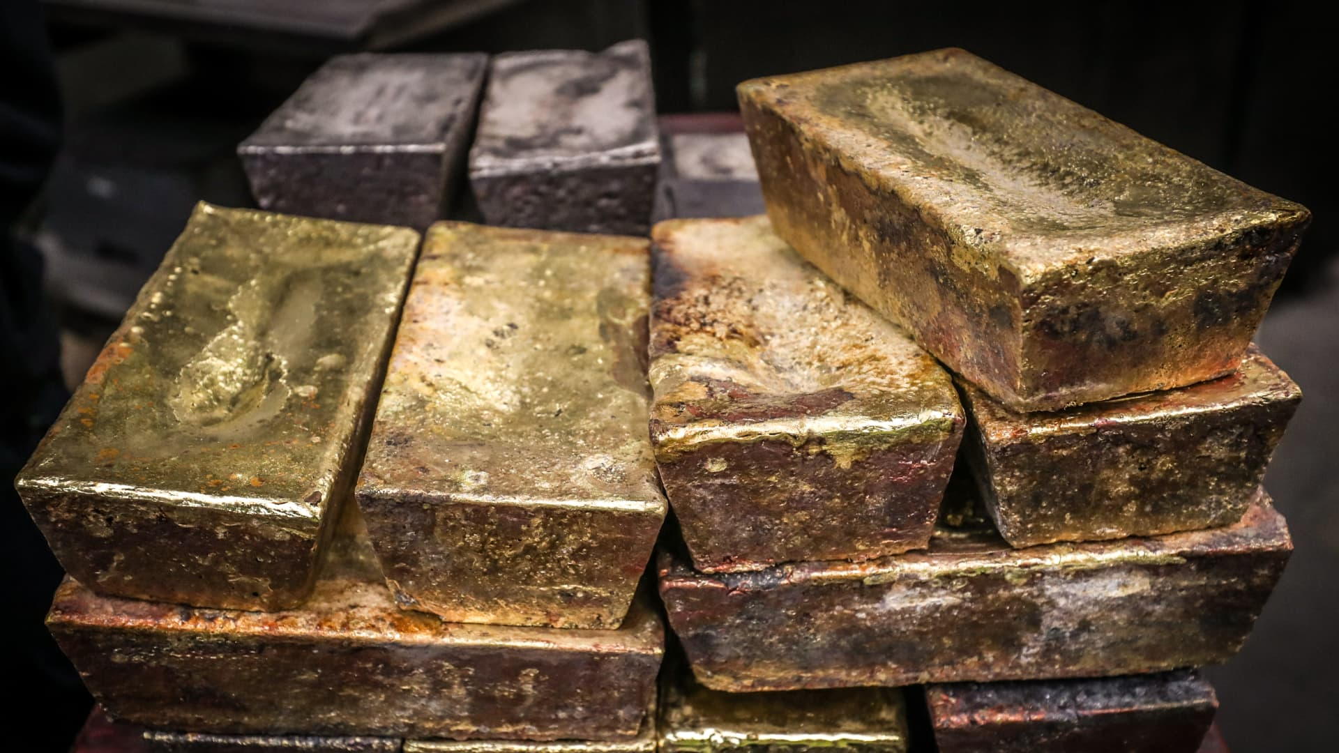 Twenty kilogram gold and silver bricks sit at the ABC Refinery smelter in Sydney, New South Wales, Australia, on Thursday, July 2, 2020.