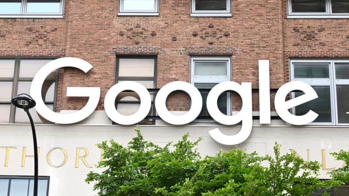 The Google logo outside if its New York City offices, which were closed on May 19, 2020 due to the coronavirus pandemic.