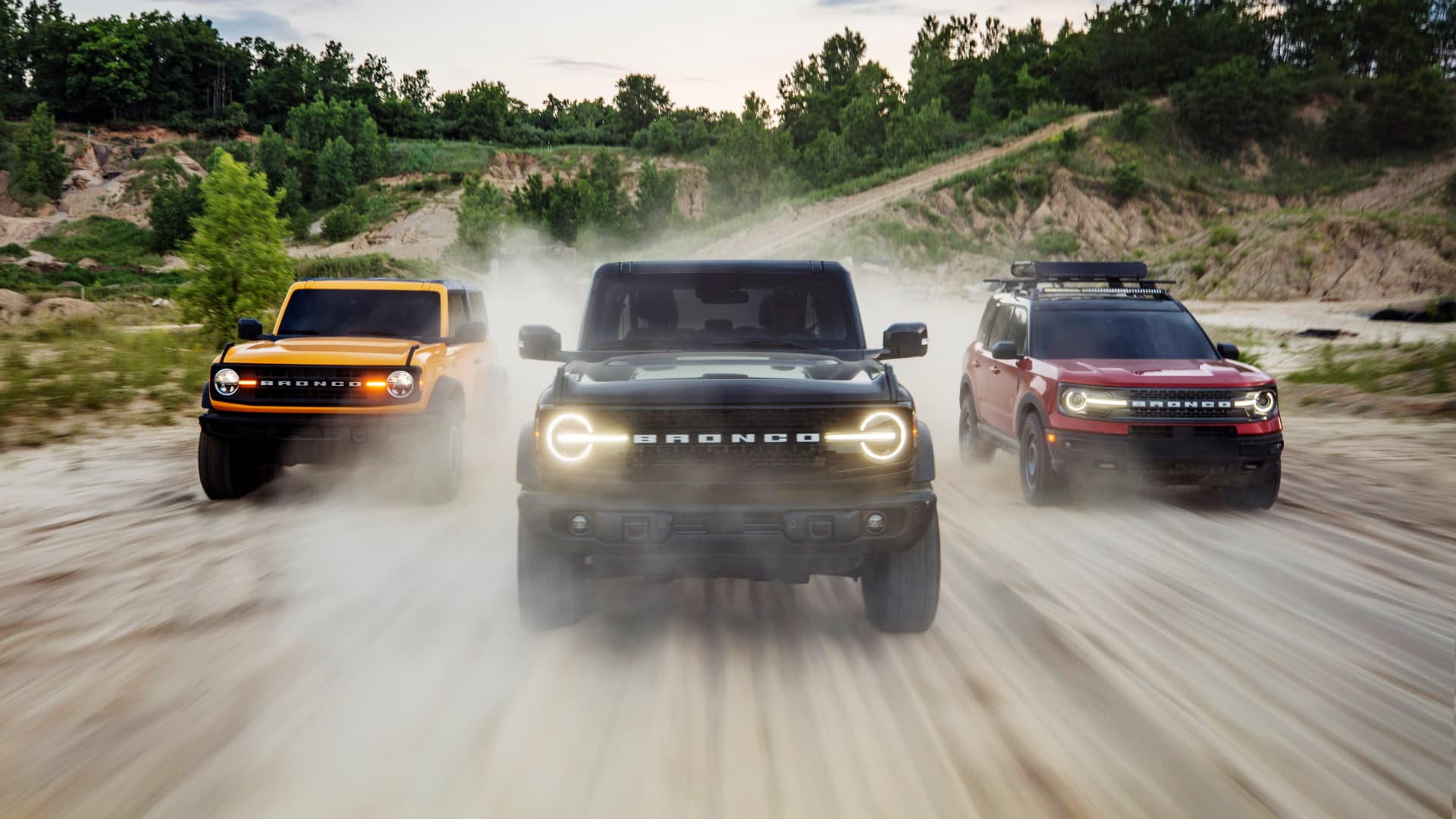 The new 2021 Bronco family of SUVs include the Bronco two-door, Bronco four-door and Bronco Sport (left to right).
