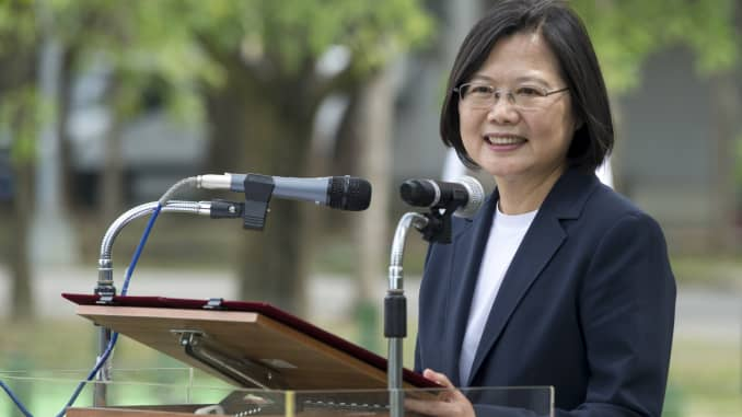 Taiwanese President, Tsai Ing-Wen addresses soldiers in the military base during her visit. Taiwanese President Tsai Ing-Wen visited Tainan's Guantian army base, where she emphasized that preventive measures be observed in curbing the coronavirus spread,