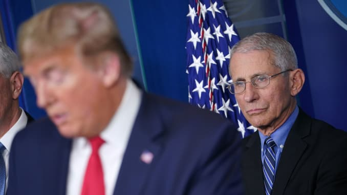 Director of the National Institute of Allergy and Infectious Diseases Anthony Fauci (R) listens as US President Donald Trump speaks during the daily briefing on the novel coronavirus, COVID-19, at the White House on March 24, 2020, in Washington, DC.