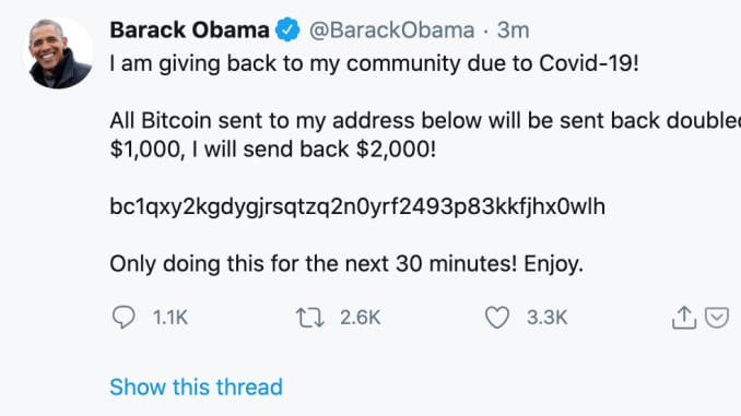 Barack Obama's Twitter account was hacked.