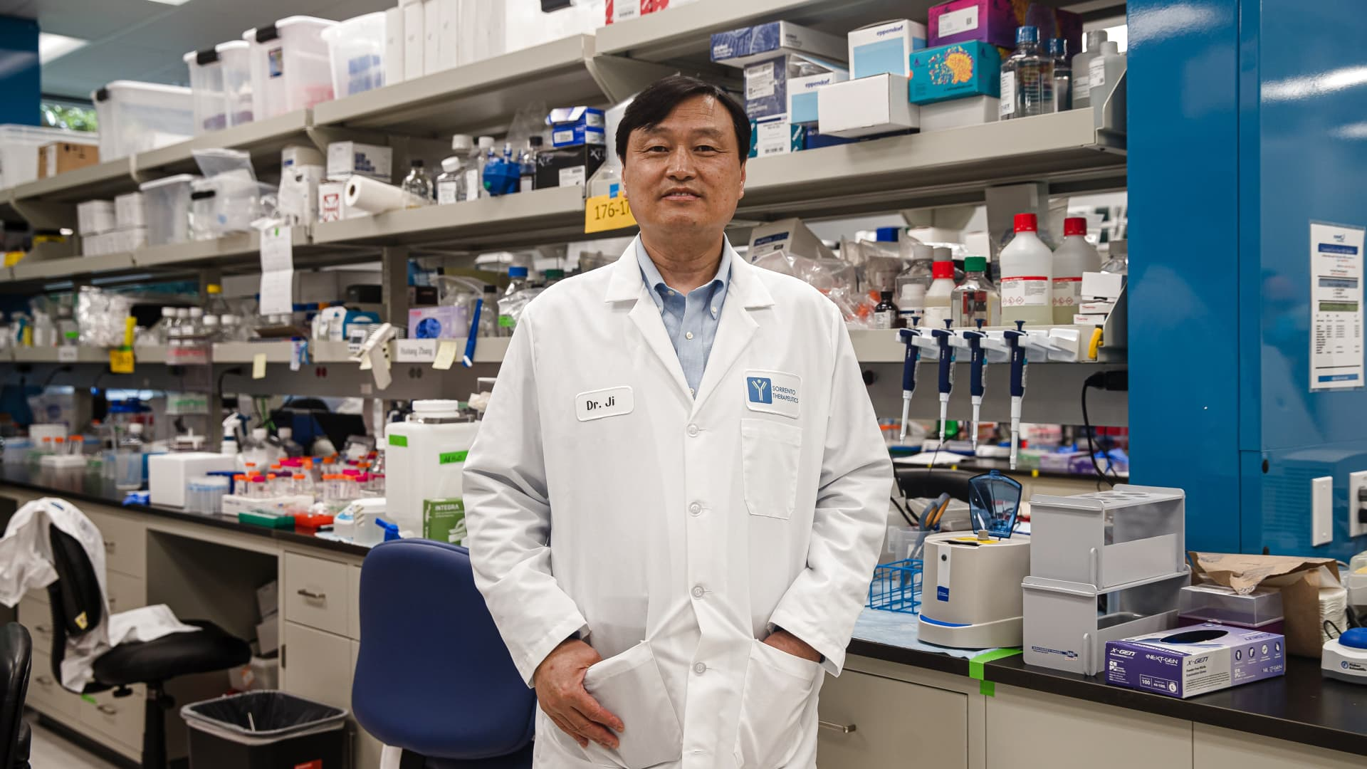 Dr. Henry Ji, Chairman, President and Chief Executive Officer stands in the lab at Sorrento Therapeutics in San Diego, California on May 22, 2020.