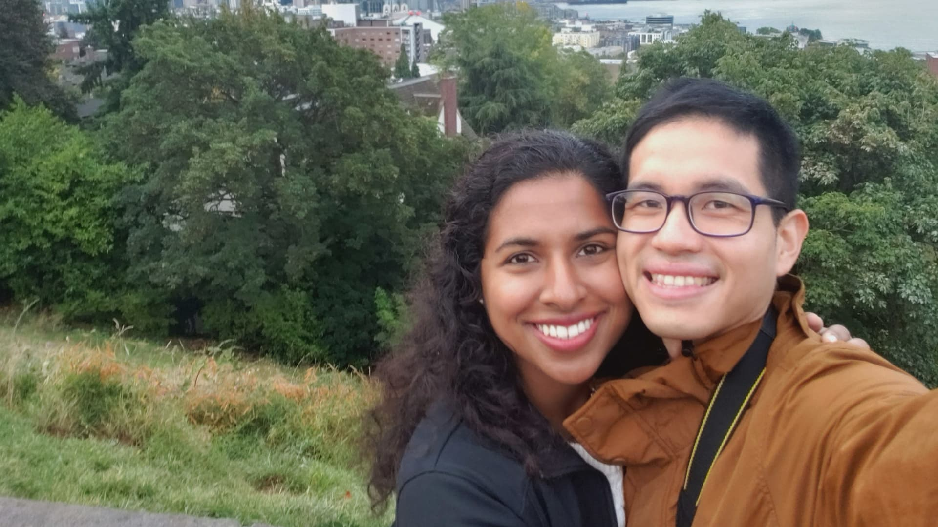 Chorath and Tiu enjoy the view in Seattle, Washington.