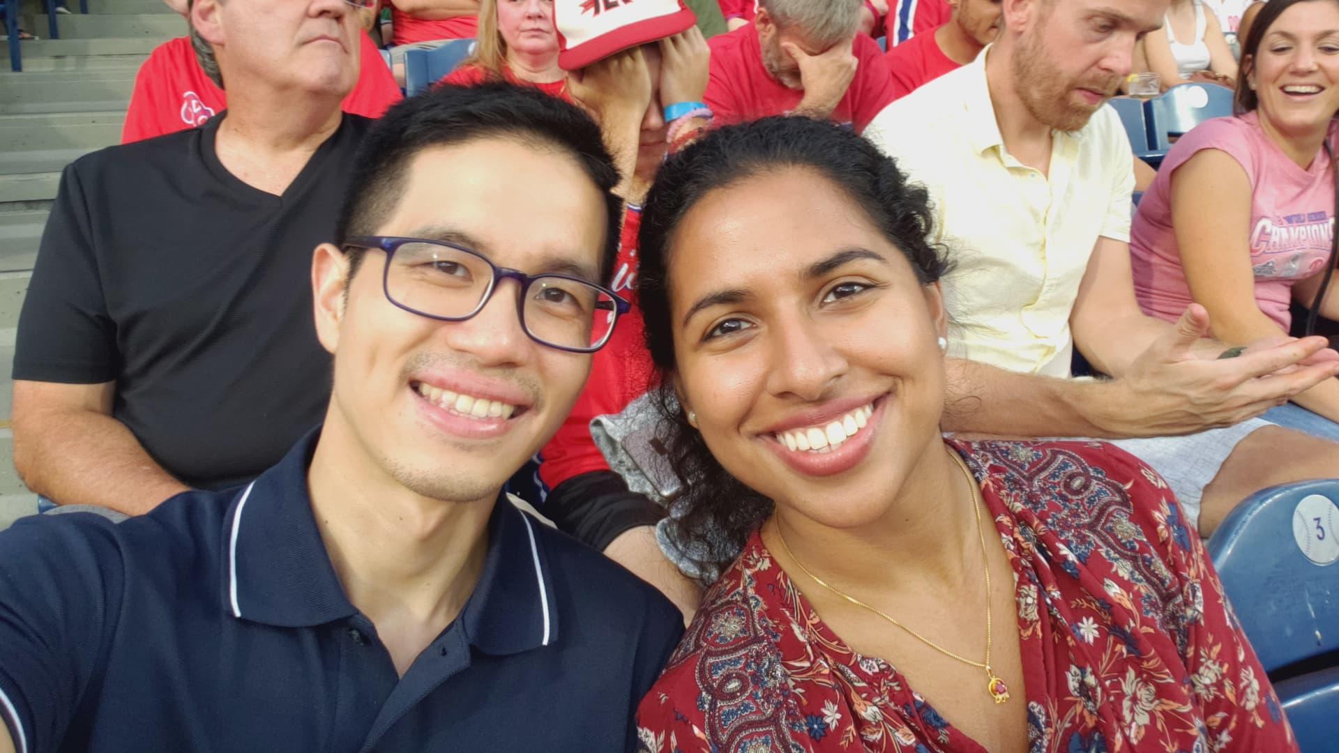 Tiu and Chorath attend a Phillies baseball game.