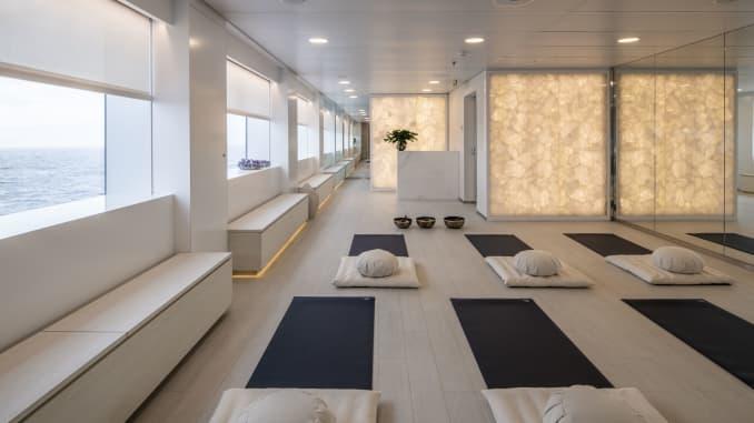 The yoga studio on the Scenic Eclipse.