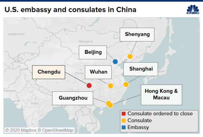Map of U.S. embassy and consulates in China