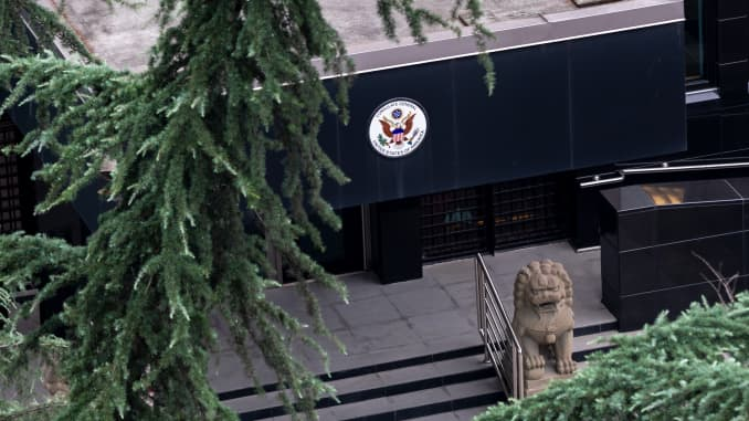 The U.S. Consulate in Chengdu is pictured on July 23, 2020 in Chengdu, Sichuan Province of China.