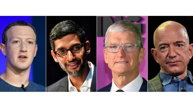 Foto kombinasi Mark Zuckerberg, Sundar Pichai, Tim Cook, Jeff Bezos