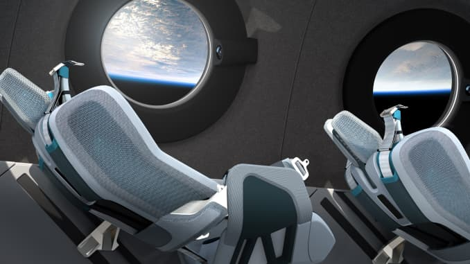 The spacecraft's seats reclined during flight.