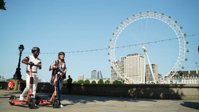 Electric scooters from Swedish start-up Voi pictured in London.