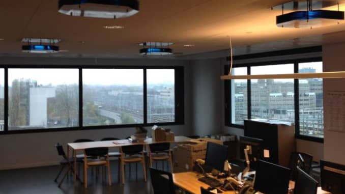 UV lights from Signify pictured in an office site. The Dutch firm claims its lights can be used against the novel coronavirus that causes Covid-19.