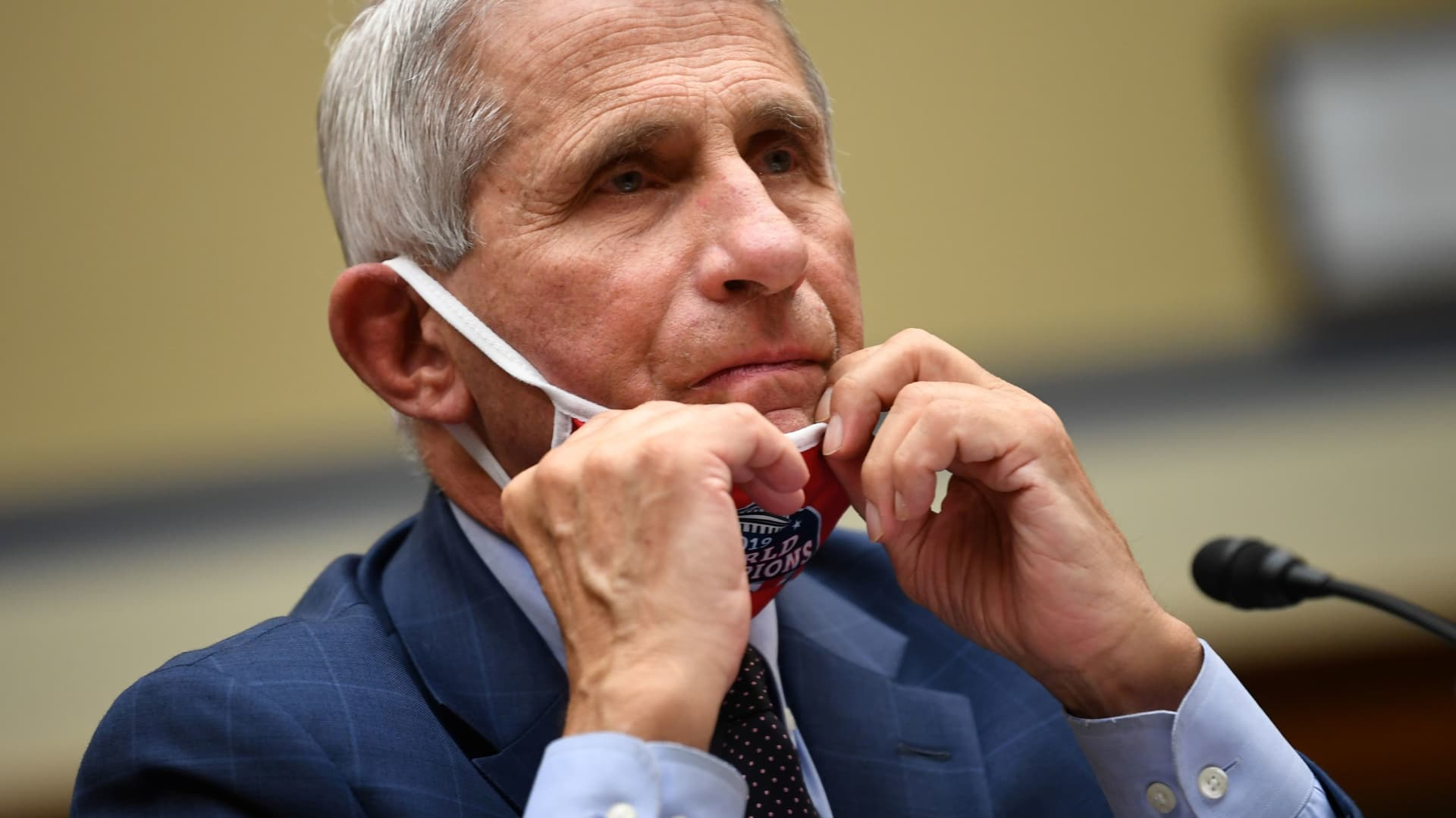 Anthony Fauci, director of the National Institute of Allergy and Infectious Diseases, prepares to testify during a House Select Subcommittee on the Coronavirus Crisis hearing in Washington, D.C., July 31, 2020.