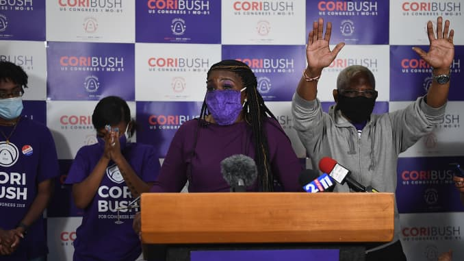 Missouri Democratic congressional candidate Cori Bush gives her victory speech at her campaign office on August 4, 2020 in St. Louis, Missouri. Bush, an activist backed by the progressive group Justice Democrats, defeated 10-term incumbent Rep. William Lacy Clay (D-MO) in Tuesday's primary election to become the first black woman elected to represent the state of Missouri in congress.