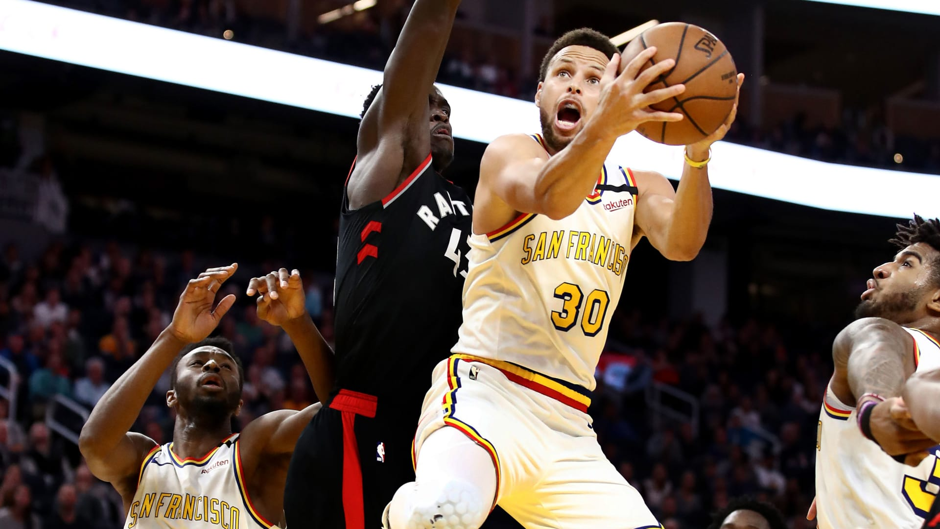 Stephen Curry #30 of the Golden State Warriors goes up for a shot on Pascal Siakam #43 of the Toronto Raptors at Chase Center on March 05, 2020 in San Francisco, California.