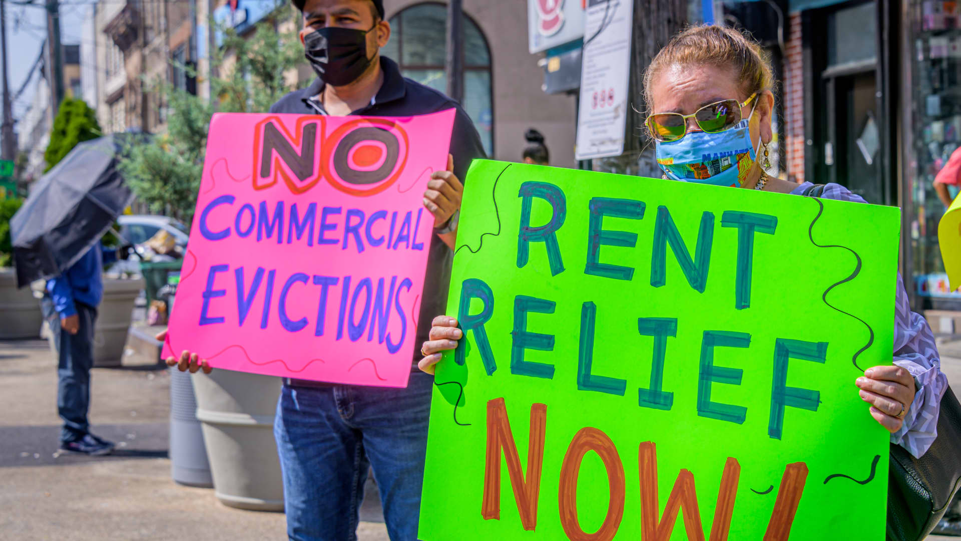 Small-business owners and community activists demonstrate for rent relief in the Bushwick neighborhood of Brooklyn, New York.