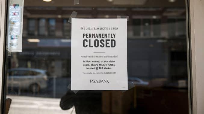 Lokasi toko Jos. A. Bank di San Francisco mengumumkan penutupan permanennya pada 6 Agustus.