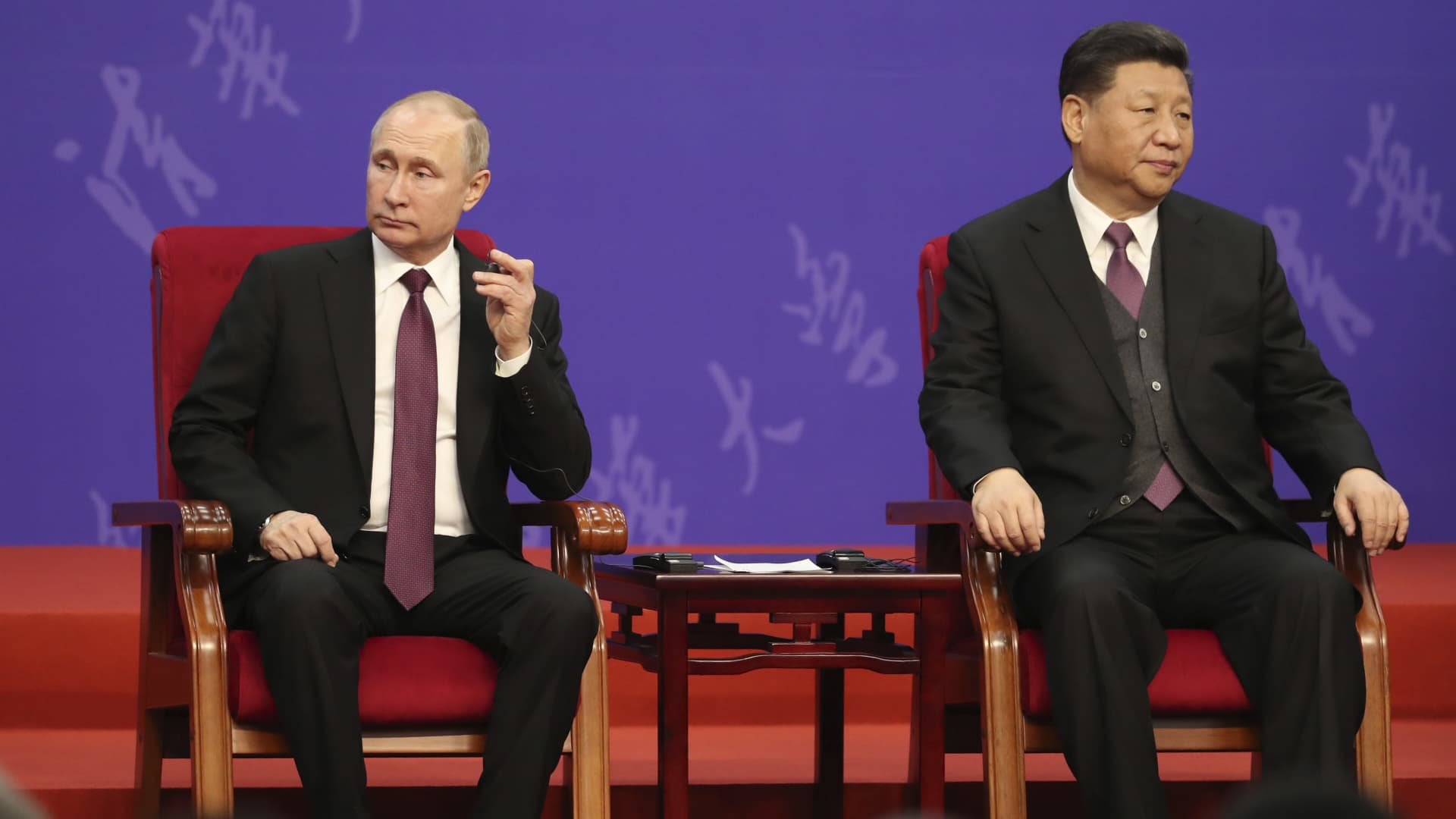 Russian President Vladimir Putin, left, and Chinese President Xi Jinping, right, attend the Tsinghua Universitys ceremony, at Friendship Palace on April 26, 2019 in Beijing, China.