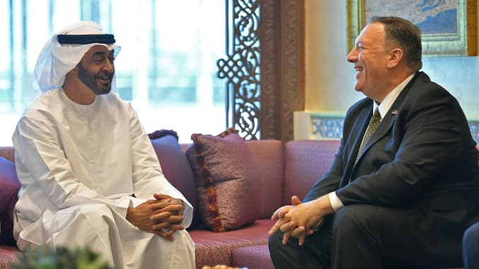 U.S. Secretary of State Mike Pompeo takes part in a meeting with Abu Dhabi Crown Prince Mohammed bin Zayed al-Nahyan in Abu Dhabi, United Arab Emirates September 19, 2019.