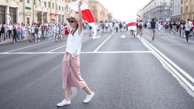 Demonstrators participate in an anti-Lukashenko rally on August 16, 2020 in Minsk, Belarus.