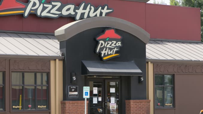 A Pizza Hut restaurant is seen in Plano, Texas, the United States, on July 2, 2020.