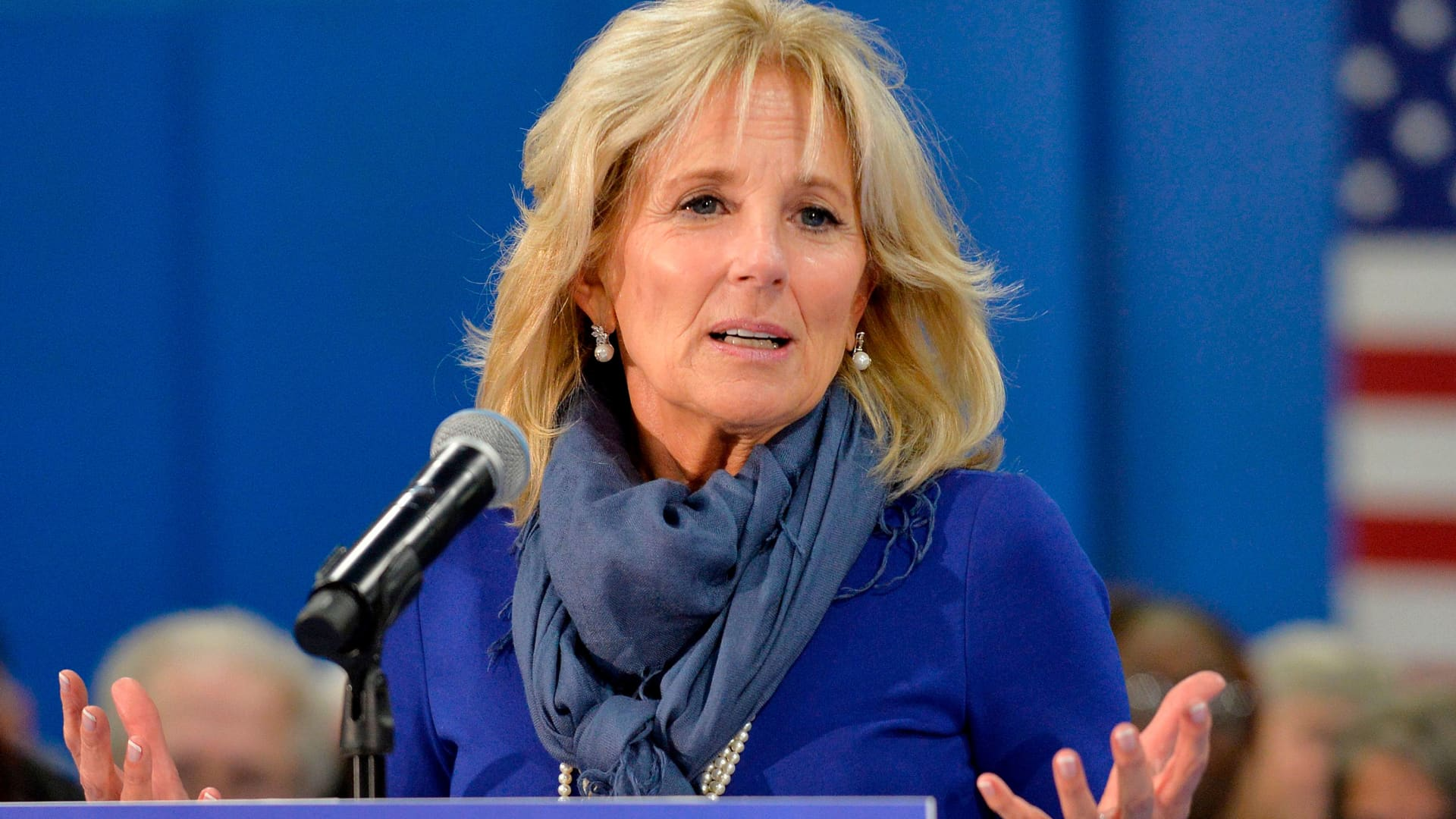 Dr. Jill Biden introduces her husband democratic presidential hopeful former US Vice President Joe Biden during a town hall at the Proulx Community Center in Franklin, New Hampshire on November 8, 2019.